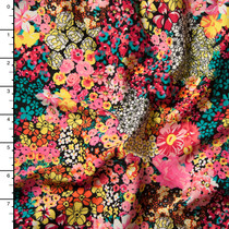 Bright Floral Clusters Double Brushed Poly Spandex Knit