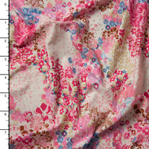 Soft Pink Floral Clusters Double Brushed Poly Spandex Knit