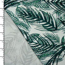 Emerald Palms on White Stretch French Terry
