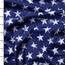 Grunge White Stars on Navy Blue 4-Way Stretch Nylon/Lycra