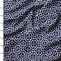 White on Blue Geometric Stretch Liverpool Knit Print
