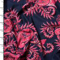 Hot Pink Paisley on Navy Blue Double Brushed Poly Spandex