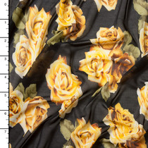 Yellow and Green Rose Clusters on Black Power Mesh