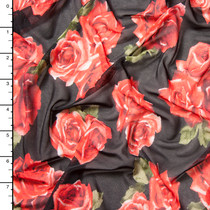 Red and Green Rose Clusters on Black Power Mesh