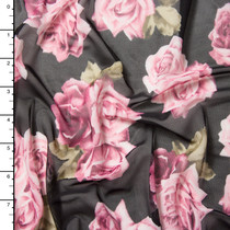 Pink and Green Rose Clusters on Black Power Mesh