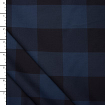 "Navy and Slate Blue 2"" Gingham Plaid Cotton Shirting from 'Theory'"