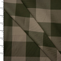 """Tan and Olive 2"""" Gingham Fine Cotton Shirting from 'Theory'"""