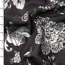 White on Black Floral Print Cotton Lawn