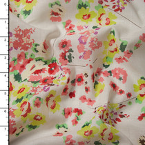 Pink and Yellow Floral Print on Offwhite Cotton Voile