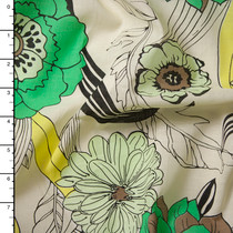 Green and Yellow on Ivory Retro Floral Cotton Lawn