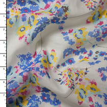 Periwinkle and Yellow Floral Print on White Cotton Voile