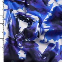 Blue and White illusion Abstract Print Lightweight Stretch Sateen from 'Milly'