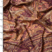 Tan and Burgundy Paisley Stretch Jersey Knit