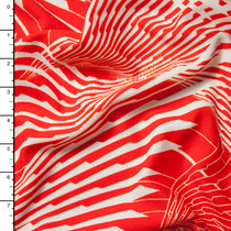 Red Orange and White Abstract Fans Liverpool Knit