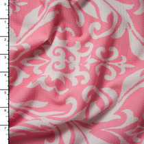 White on Pink Damask Print Liverpool Knit