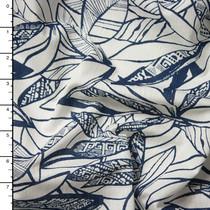 Blue on White Island Leaf Print Jersey Knit