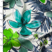 Blue and Green Watercolor Island Floral Print Jersey Knit
