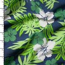 Blue and Green Island Floral Print Jersey Knit