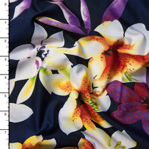 White and Purple Floral on Navy Blue Stretch Poly Knit