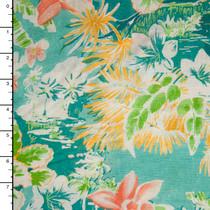 Aqua Island Print 100% Linen