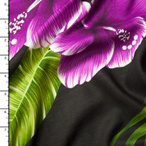 Purple, Green, and Black Large Leaves and Flowers Island Print Challis