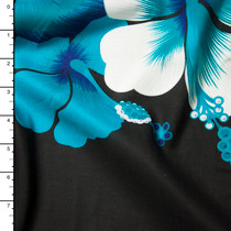 Turquoise, White, and Black Large Floral Island Print Challis