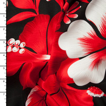 Red, White, and Black Large Floral Island Print Challis