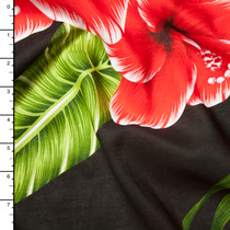 Red, Green, and Black Large Leaves and Flowers Island Print Challis