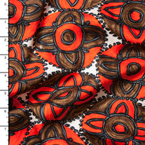 Orange and Brown Floral Medallion Embroidered Stripe Lightweight Sateen from 'Milly' Fabric By The Yard