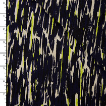Black, Navy, Yellow, and Ivory Abstract Brushstroke Cotton/Linen Twill from 'Milly' Fabric By The Yard