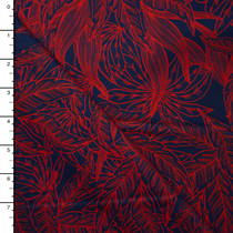 Neon Red Leaves on Navy Blue Stretch Heavyweight Sateen from '7 for All Mankind' Fabric By The Yard