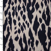 Navy and Offwhite Animal Print Stretch Twill from '7 for all Mankind' Fabric By The Yard