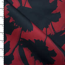 Black on Wine Shadowed Floral Silhouette Stretch Sateen from '7 for all Mankind' Fabric By The Yard