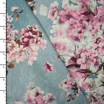 Lavender, Pink, and White Floral on Arctic Grey Stretch Sateen from '7 for all Mankind' Fabric By The Yard