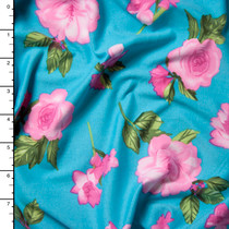 Pink on Turquoise Simple Floral Double Brushed Poly Spandex Print Fabric By The Yard