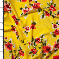 Red and Green on Yellow Wildflower Floral Double Brushed Poly Spandex Print Fabric By The Yard