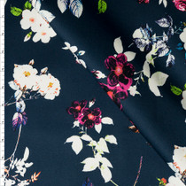 Washed Out Floral Pattern on Navy Blue Stretch Cotton Sateen from '7 for all Mankind' Fabric By The Yard