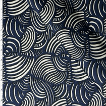 Black and White Swirls on Navy Blue Stretch Sateen from '7 for all Mankind'