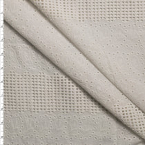 Banded Leaf Pattern White Cotton Eyelet Fabric By The Yard