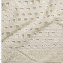 Ivory Large Circles and Squares Scalloped Edge Cotton Eyelet Fabric By The Yard