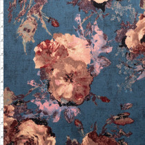 Mauve Grunge Rose on Slate Floral Double Brushed Poly Spandex Fabric By The Yard