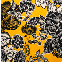 Black and Offwhite Line Art Roses on Bright Mustard Yellow Double Brushed Poly Spandex Fabric By The Yard