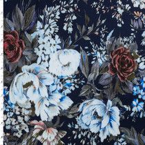 Baby Blue and Wine Victorian Floral on Navy Blue Stretch Cotton Sateen by '7 for all Mankind Fabric By The Yard