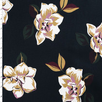Tan and Lavender Pop Art Floral on Stretch Cotton Sateen by '7 for all Mankind Fabric By The Yard