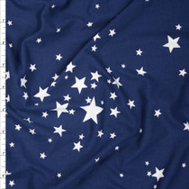 White Stars on Navy Blue Double Brushed Poly Spandex Fabric By The Yard