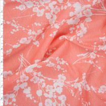 White and Peach Silhouette Floral Lightweight Jersey Fabric By The Yard
