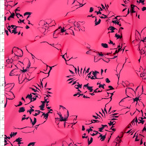 Navy Tropical Flowers on Neon Pink Lightweight Nylon/Lycra Fabric By The Yard