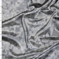 Shiny Light Grey Digital Camouflage Nylon/Lycra Fabric By The Yard