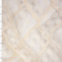 Ivory Dots and Diamonds Designer Lace Fabric By The Yard
