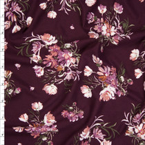 Tan and Mauve on Plum Floral Double Brushed Poly Spandex Fabric By The Yard